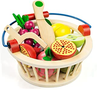 Victostar Magnetic Wooden Cutting Fruits Vegetables Food Play Toy Set with Basket for Kids (Fruits)