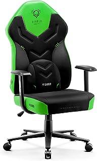 Diablo X-Gamer 2.0 Silla Gaming Gamer de Oficina Tela Diseño Ergonómico Cojín Lumbar Apoyabrazos Cómodos (Negro-Verde)