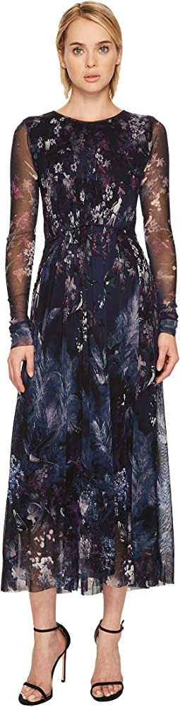 FUZZI - Long Sleeve Blue Bird Print Gown Cover-Up