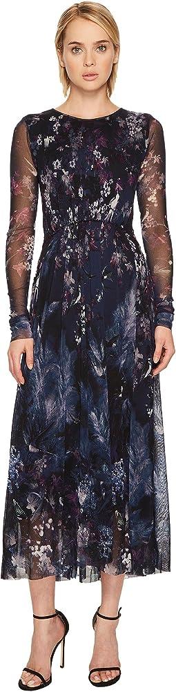 FUZZI - Long Sleeve Blue Bird Print Gown Cover-Up