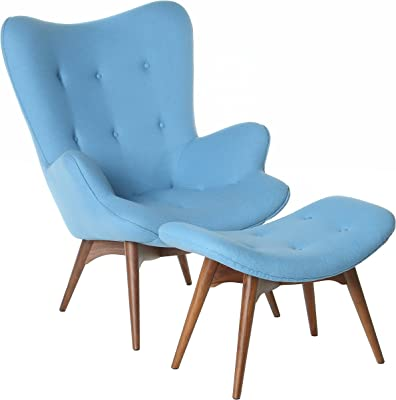 Design Tree Home Featherstone Style Contour Chair and Ottoman, Large, Blue
