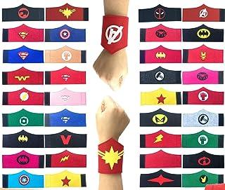 32 Pack Superhero Bracelet for Kids Boys & Girls Superhero Birthday Party Supplies FavorsSuperhero Felt BangleWristband Accessories Wrist Strap