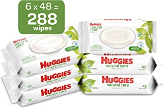 HUGGIES Natural Care Unscented Baby Wipes, Sensitive, 6 Disposable Flip-top Packs, 288 Count