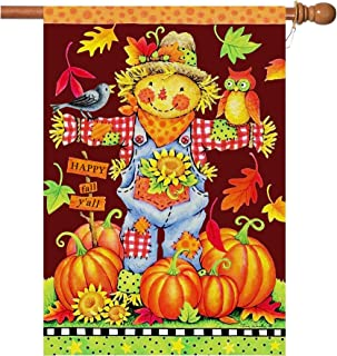 Fall House Flags Double Sided Autumn Flag Scarecrow Harvest Pumpkin Yard Decorations Happy Fall Garden Flags 28 x 40 Inch Large Fall Yall Flags with 2 Grommets