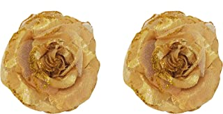 Confidence Beautiful Flower Clip Girls Hair Accessories For Women And Girls 20 Gram Set Of 2 Pack Of 1 (Golden)