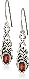 Sterling Silver Created or Genuine Gemstone Celtic Knot Linear Drop Earrings