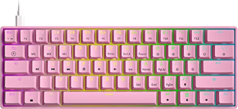 GK61s Mechanical Gaming Keyboard - 61 Keys Multi Color RGB Illuminated LED Backlit Wired Programmable for PC/Mac Gamer (Ga...