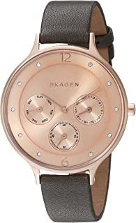 Skagen Anita Women's Rose Gold Dial Leather Band Watch - SKW2392