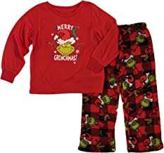 Dr. Seuss Grinch Boys Girls Fleece Pajama Set