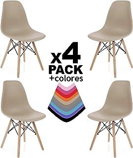 duehome - Nordik - Pack 4 sillas, Silla de Comedor, Salon, Cocina o Escritorio, Acabado en Madera de Haya, Dimensiones: 47 x 56 x 81 cm de Altura (Arena)