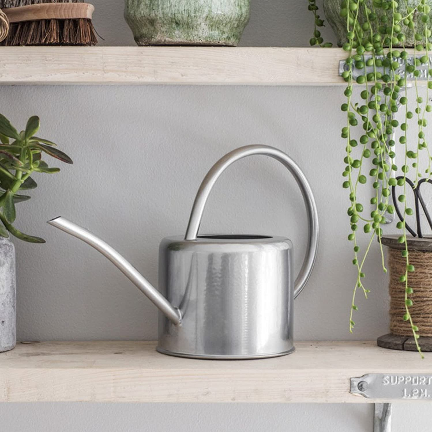 Ckb Ltd 1 9l Indoor Watering Can Galvanized Steel For Houseplants Contemporary Small Metal Design With Narrow Spout And High Handle Silver Amazon Co Uk Garden Outdoors