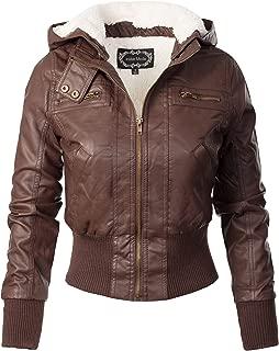 Women's Faux Leather Detachable Hood Sherpa Lining Bomber Jacket
