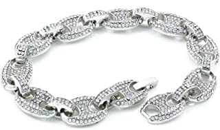 Men's Bling Icy Mariner Link Choker Necklace/Bracelet Silver Finish Lab Created Diamonds 12MM (8.5-30 inches)