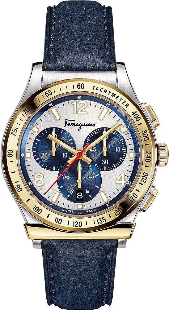 Salvatore ferragamo,orologio,cronografo per uomo,in accciao e quadrante argento sunray con contatori blu SFDK00218