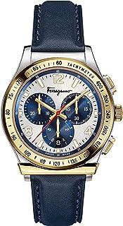 Salvatore Ferragamo Men's FERRAGAMO 1898 Stainless Steel Quartz Watch with Leather Calfskin Strap, Blue, 20 (Model: SFDK00...
