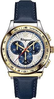 Men's Ferragamo 1898 Stainless Steel Quartz Watch with Leather Calfskin Strap, Blue, 20 (Model: SFDK00218)