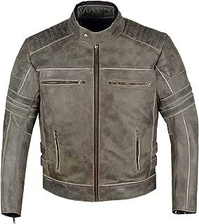 Men's SHADOW Motorcycle Distressed Cowhide Leather Armor Black Jacket Biker S
