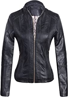 Marte&Joven Women's Lightweight Slim Faux Leather Motorcycle Biker Zip Up Jacket Coat
