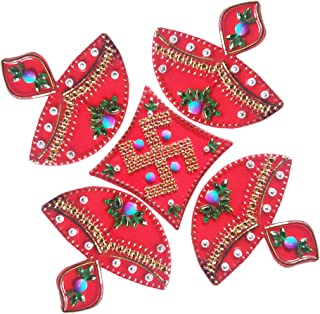 Handmade Diwali Floor Rangoli Design with Studded Stones & Sequins Traditional Festive Home Decorations