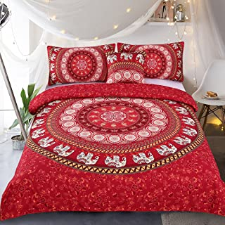 Sleepwish Elephant Mandala Duvet Cover Red Bohemian Bedding Hippie Bed Set Elephant Tapestry Bedding - Queen