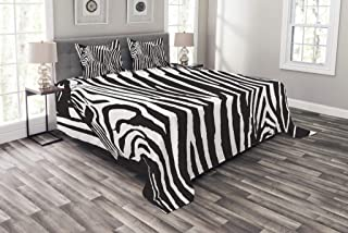 Lunarable Zebra Print Bedspread, Wild Zebra Design with Animal Profile Blended Over Itself Abstract Pattern, Decorative Quilted 3 Piece Coverlet Set with 2 Pillow Shams, King Size, Black White