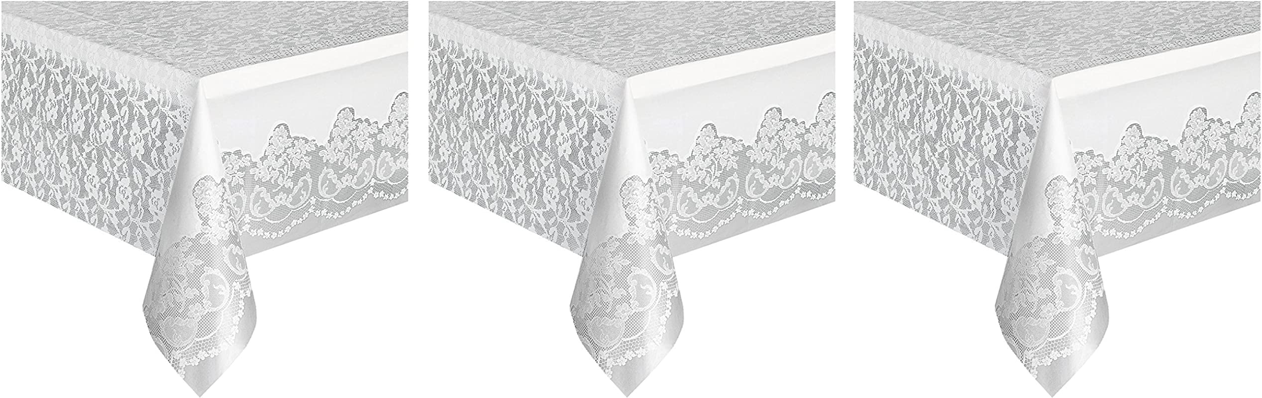 White Lace Plastic Tablecloth 108 X 54 3 Pack