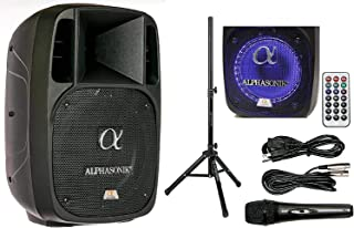 "Alphasonik 10"" Powered 1600W PRO DJ Amplified Loud Speaker Bluetooth USB SD Card AUX.."