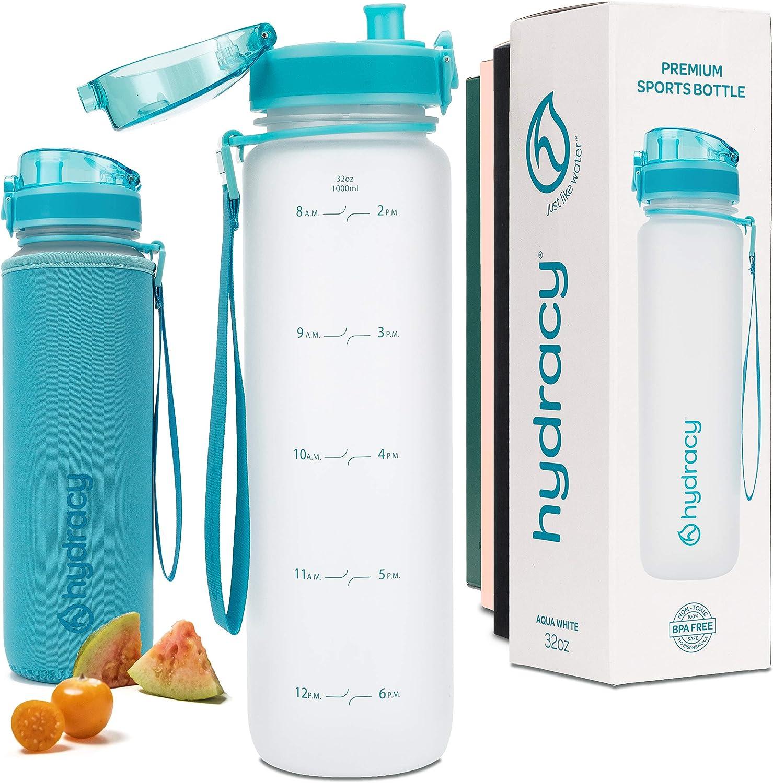 Hydracy Botella de Agua 500ml 1Liter con Marcador de Tiempo - Sin BPA con Filtro de Infusión de Frutas - Antigoteo y sin Sudor - Ideal para el Ejercicio y los Deportes al Aire Libre
