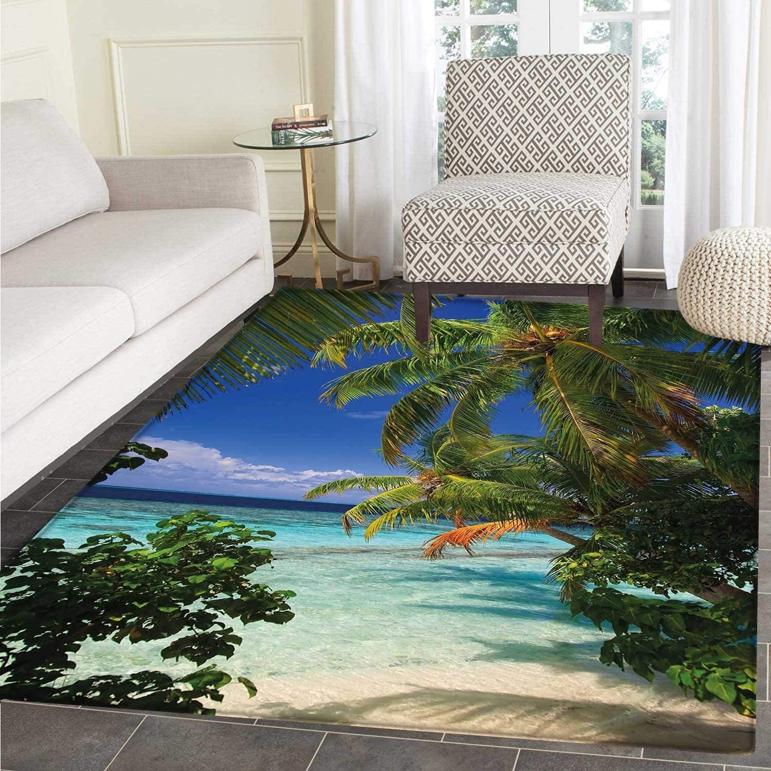 Plant Small Rug Carpet Tropical Paradise at Maldives Palms bluee Sky Beautiful Beaches Tranquility Floor Mat Rug Indoor Front Door Kitchen Living Room Bedroom Mats Rubber Carpe Non Slip