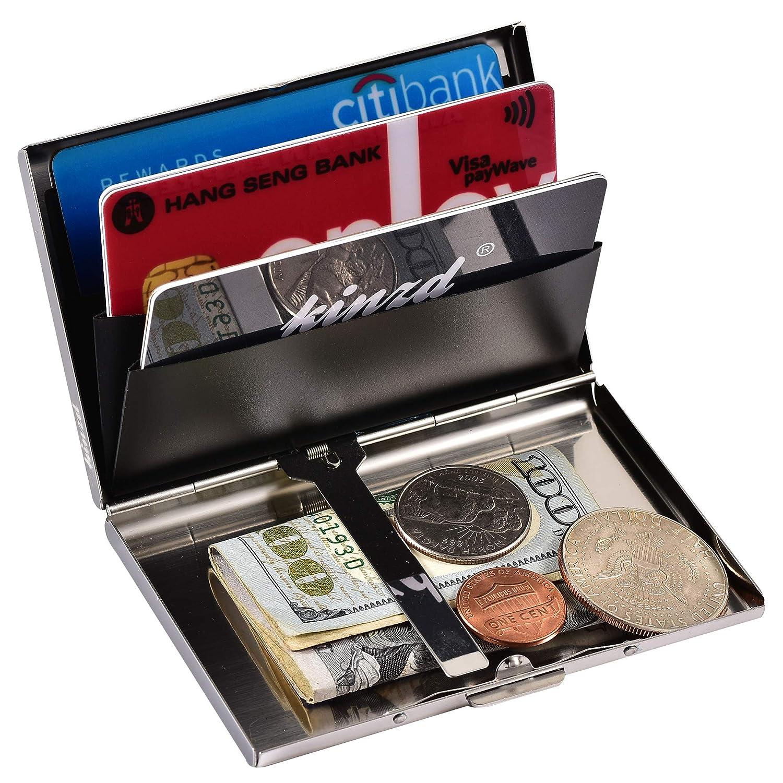 Kinzd? 薄型カードケース RFID識別 防磁ステンレス クレジットカードケース 6枚収納タイプ 持ち運びに便利 男女兼用