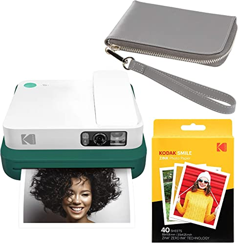 wholesale KODAK new arrival Smile Classic Digital popular Instant Camera with Bluetooth (Green) Grey Wrislet Carrying Case Kit online sale