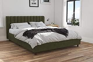 Novogratz Brittany Upholstered Bed, Queen, Green