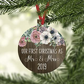 Our First Christmas as Mr and Mrs 2019 Christmas Ornament with Faux Wood and Farmhouse Flowers