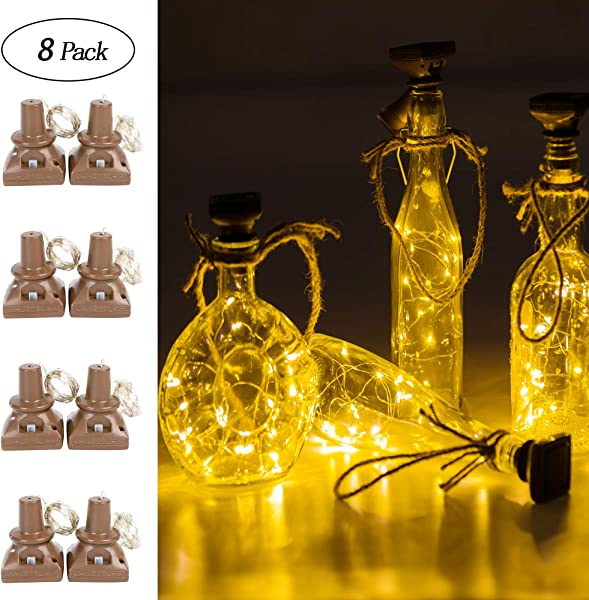 Upgraded 8 Pack Solar Powered Wine Bottle Lights 20 LED Waterproof Fairy Cork String Craft Lights For Wedding Christmas Outdoor Holiday Garden Patio Pathway Decor Warm White