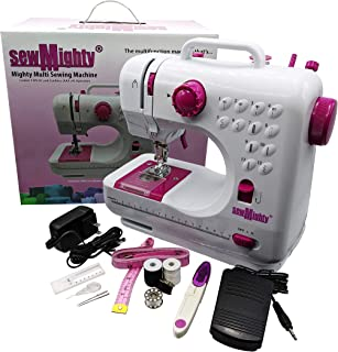 Sew Mighty, Mighty Multi Sewing Machine – Multifunction Machine with 12 Preprogrammed Stitches, Dual Speed, Forward & Reverse, Battery & AC Power with Foot Pedal