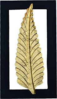 SAWDCK Hira 2 Leaf Wall Art Photo Frame Hanging with Brass Top on Wood (8 x 14-inch)