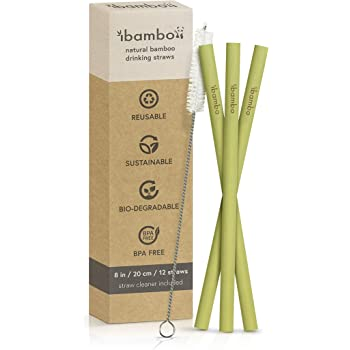 Ibambo 12 Pack Natural Bamboo Drinking Straws - Eco-Friendly, Sustainable, Reusable Bamboo Straws -8 inch Straws with Straw Cleaner -Biodegradable Alternative to Plastic Stainless Steel & Glass