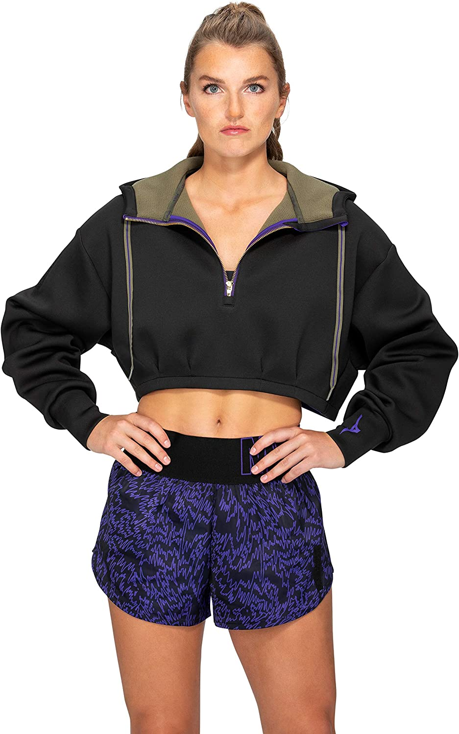 Mizuno Women's Ronda Rousey Cropped New Free Shipping Hoodie 70% OFF Outlet Reputation Zip-up