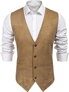 COOFANDY Men's Suede Leather Suit Vest Casual Western Vest Jacket Slim Fit Vest Waistcoat - beige - XL