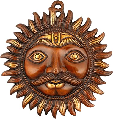 Collectible India Sun Mask Religious Wall Hanging Art - Golden Finish Brass Sculpture Metal Plate Wall Decor Shani Dev Christmas Gifts