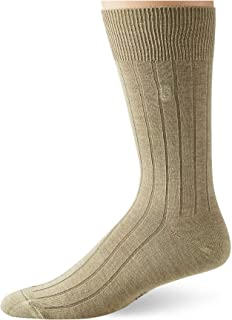 CHAPS mens Solid Rib Casual Crew Socks With Embroidered Logo (3 Pack)