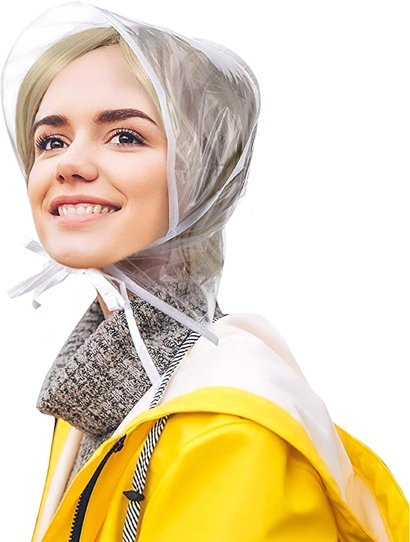 BioSwiss: Set of 2 Pocket Rain Hats, Waterproof Clear Bonnet Head Scarf, for Men & Women  Protect Blow Dried Hair During Rain 