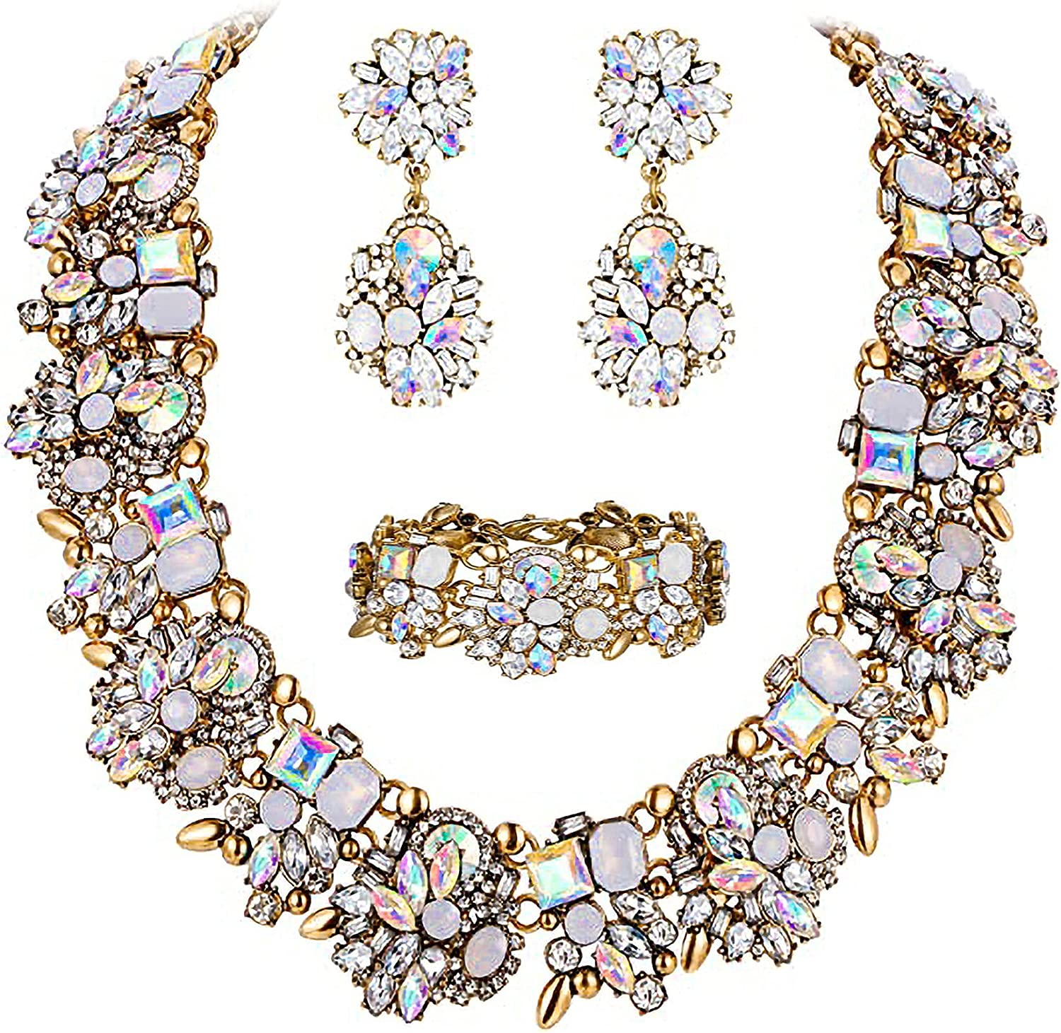 NABROJ Statement Necklaces Set for Women with Crystals Gold Chain Bib Collar Necklace Wedding Jewelry Accessory 8 Colors