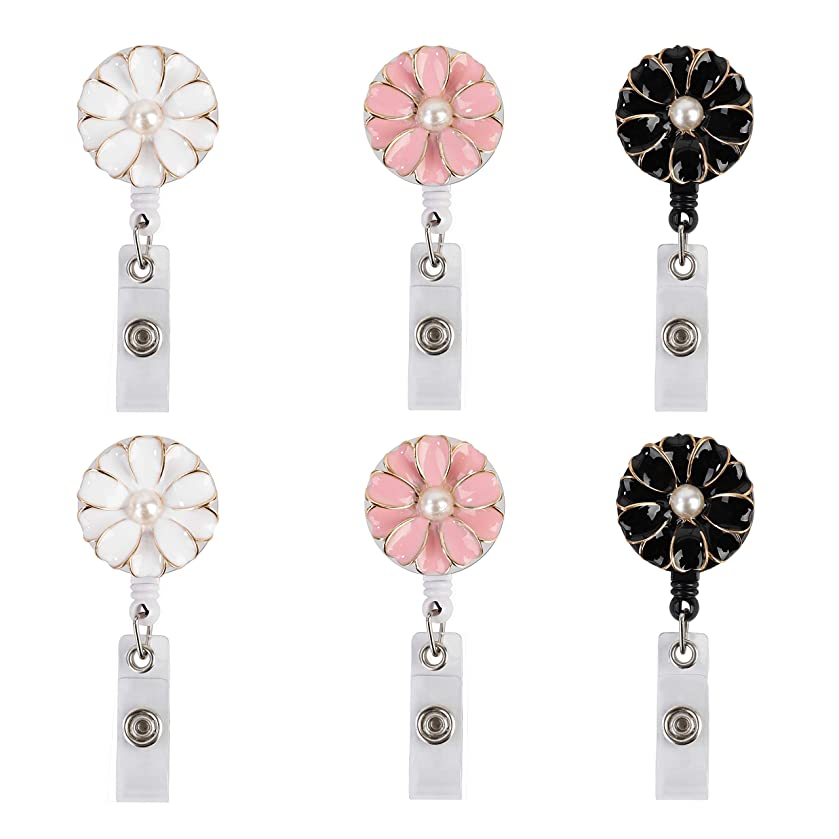 Retractable Badge Holder with Reel Clip 360 Degrees for ID Name Card Camellia Flower Decorative Keychain Holders for Nurses Teachers Students 6PCS