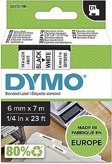 Dymo S0720780 D1 Label Cassette Tape, 6mm x 7m, Black/White