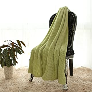 Simple&Opulence Solid Coral Jacquard Dot Velvet 50 X 60-Inches Throw Blanket, Green