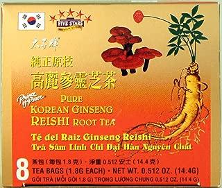 Prince of Peace Pure Korean Ginseng Reishi Root Tea 8 Bags (1.8g ea, net wt 14.4g)