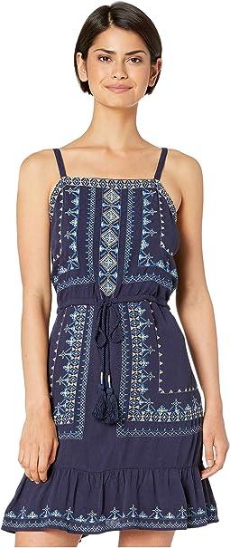 Embroidered Tie-Waist Dress with Ruffled Hem