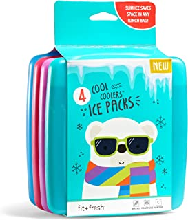 Fit + Fresh Cool Coolers Slim Ice Packs, Reusable Ice Packs for Lunch Bags, Beach Bags, Coolers, and More, Set of 4, Multicolored