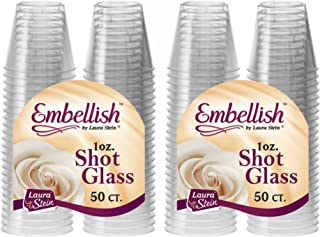 Sponsored Ad - [100 Count] Embellish, 1 oz Crystal Clear Disposable Hard Plastic Shot Glass, Great for Whiskey, Jello, Sho...